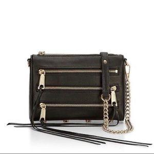 Rebecca Minkoff Leather Mini 5 Zip black bag
